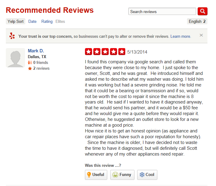 Customer Reviews Reviews Of North Dallas Appliance Repair