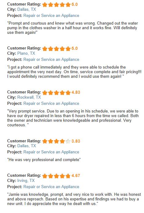 north dallas appliance repair customer reviews