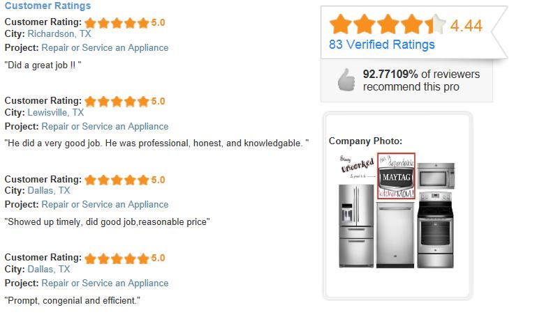 north dallas appliance repair reviews